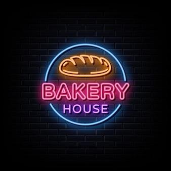 Logotipo de la casa de la panadería letrero de neón de la casa de la panadería