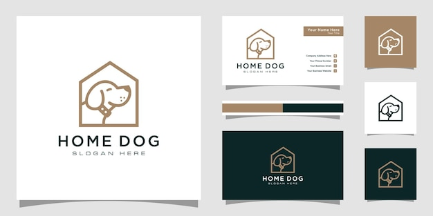 Logotipo de la casa de perro con estilo de línea y tarjeta de visita.