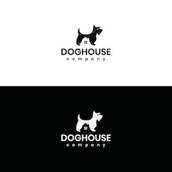 Logotipo de la casa del perro mascota casa