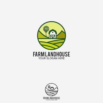 Logotipo de casa de tierra de granja