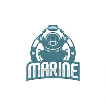 Logotipo de casco de buceo clásico.
