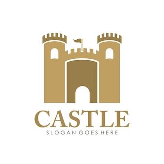 Logotipo del castillo, icono y plantilla de diseño de ilustración