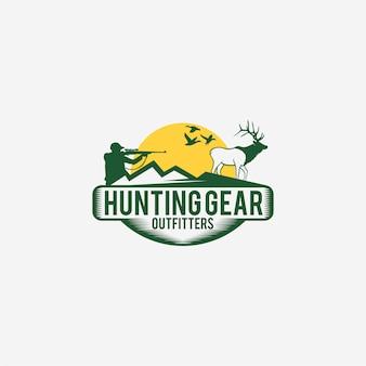 Logotipo de caza con cazador y ciervos