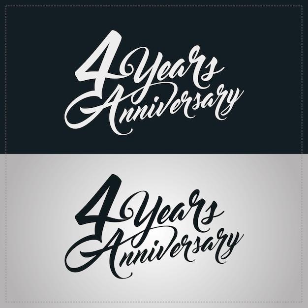 Logotipo de celebración de aniversario de 4 años