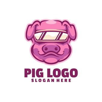 Logotipo de cerdo aislado en blanco