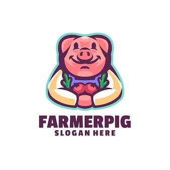 Logotipo de cerdo granjero aislado en blanco