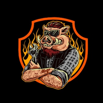 Logotipo de cerdo mecánico