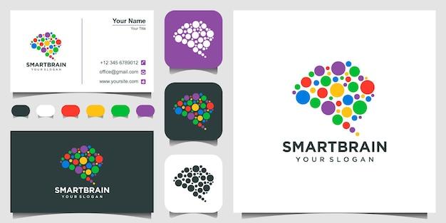 Logotipo de cerebro abstracto combinado con círculos