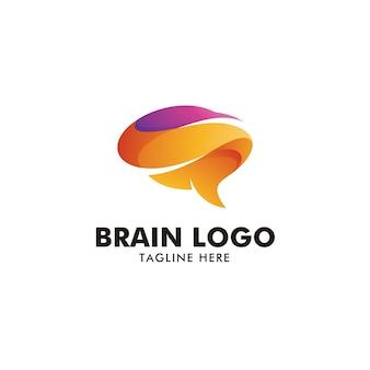 Logotipo de cerebro colorido abstracto
