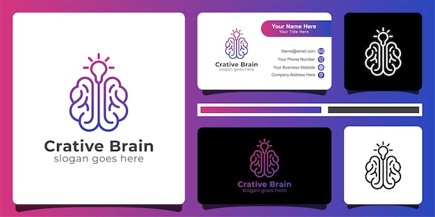 Logotipo de cerebro creativo y tarjeta de visita.