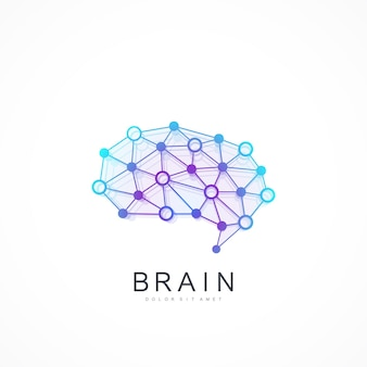Logotipo de cerebro idea creativa. concepto de logo de cerebro de inteligencia artificial.
