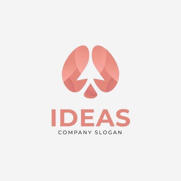 Logotipo de cerebro de ideas creativas con flecha hacia arriba para negocios y empresa