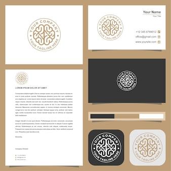Logotipo de cerebro y tarjeta de visita.