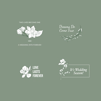 Logotipo con ceremonia de boda para branding e icono