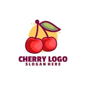 Logotipo de cereza aislado en blanco