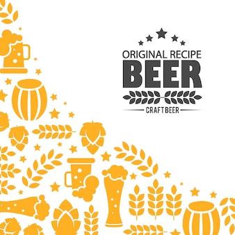 Logotipo de cervecería de diseño emblema.