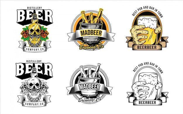 Logotipo de cerveza y colección de insignias