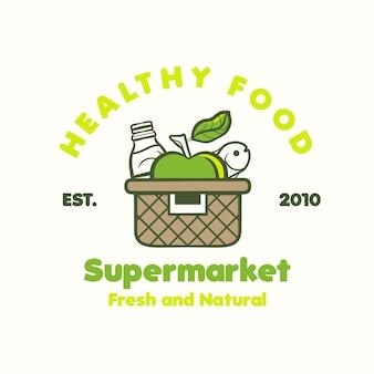 Logotipo de cesta de compras para supermercado