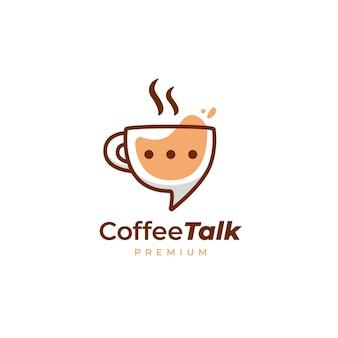 Logotipo de charla de café, icono de logotipo de discusión de taza de taza de café en estilo divertido