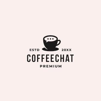 Logotipo de chat y charla de café con burbuja de chat