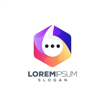 Logotipo de chat hexagonal