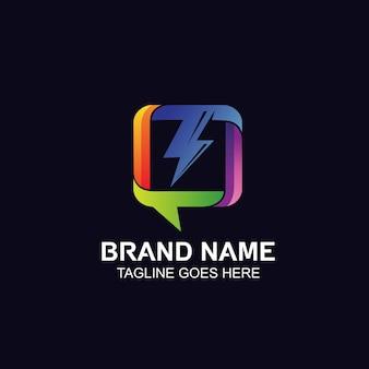 Logotipo de chat y mensajería con icono de trueno