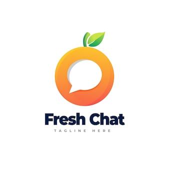 Logotipo de chat naranja plantilla de logotipo degradado de chat naranja de chat