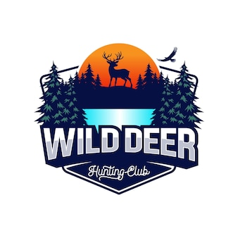 Logotipo de ciervo de aventura vintage