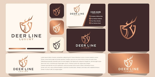Logotipo de ciervo de lujo, con estilo de arte lineal y color dorado, inspiración para el diseño del logotipo, con diseño de tarjeta de presentación