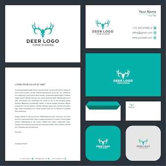 Logotipo de ciervo y tarjeta de visita.