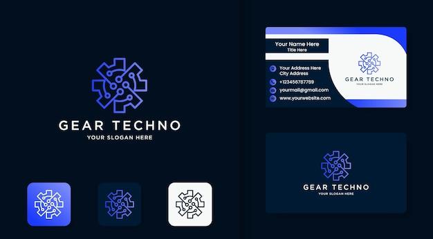 Logotipo circular del circuito de tecnología de engranajes y tarjeta de visita.