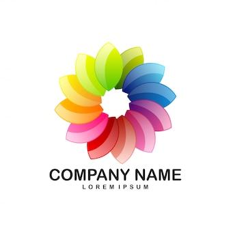 Logotipo de círculo de flor de loto pétalos