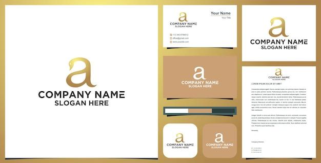 Logotipo de cisne letra a y tarjeta de visita