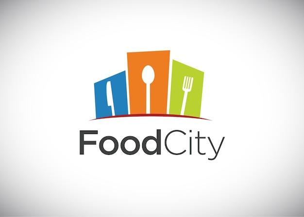 Logotipo de la ciudad de alimentos, vector logo template