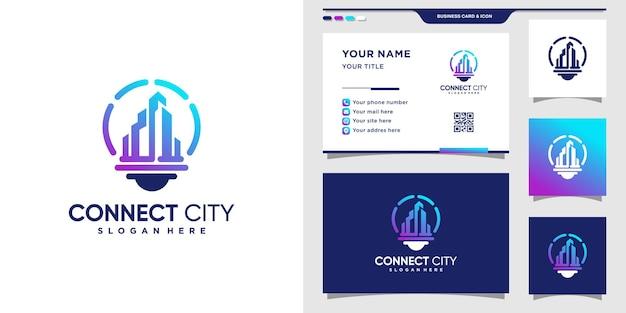 Logotipo de la ciudad con estilo de bombilla y diseño de tarjeta de visita.