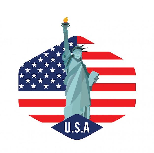 Logotipo de la ciudad de nueva york con la estatua de la libertad