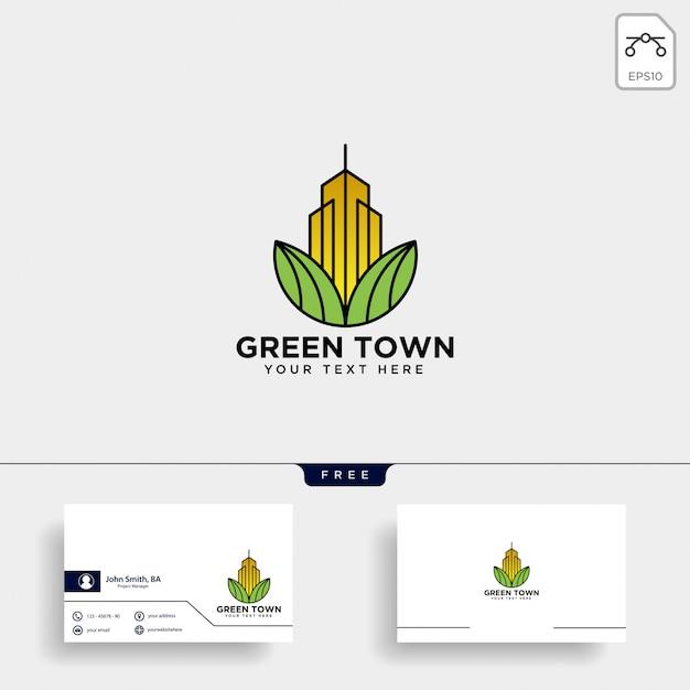 Logotipo de la ciudad verde y plantilla de tarjeta de visita