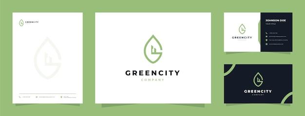Logotipo de la ciudad verde con tarjeta de visita y membrete