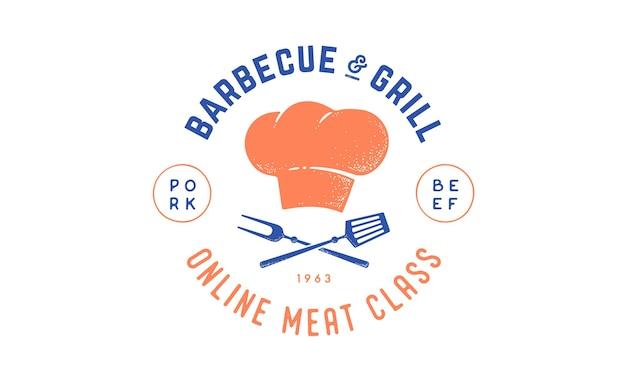 Logotipo para la clase de la escuela de cocina con herramientas de barbacoa de icono