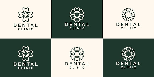 Logotipo de la clínica dental con un estilo de arte de línea de concepto de flor circular