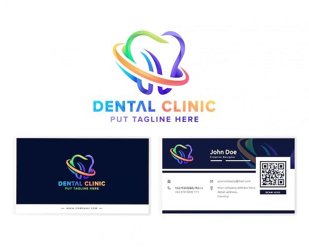 Logotipo de clínica dental médica con tarjeta de visita para empresa