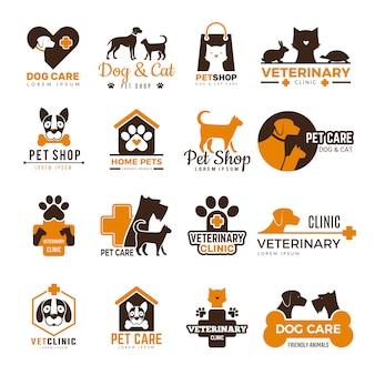 Logotipo de clínica veterinaria. tienda de mascotas gatos perros animales domésticos protección amigable colección de símbolos divertidos