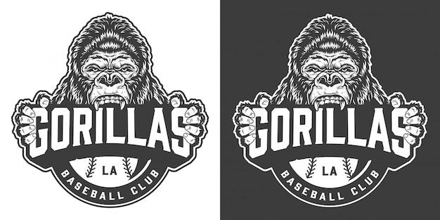Logotipo del club de béisbol gorilas vintage