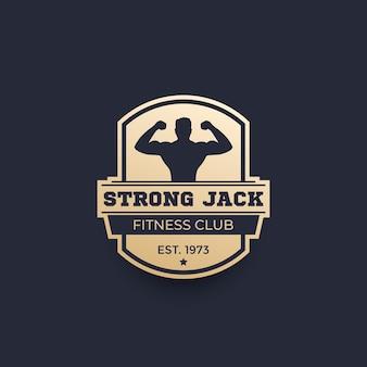 Logotipo del club de fitness, emblema con hombre fuerte
