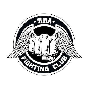 Logotipo del club de lucha con puño y alas. logotipo del club de boxeo y lucha con puño.