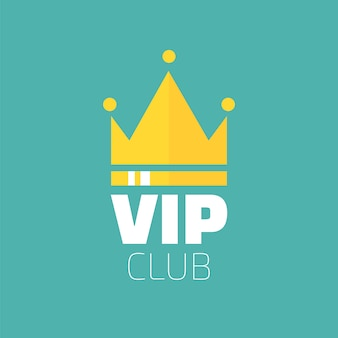 Logotipo del club vip en estilo plano. banner solo para miembros del vip club