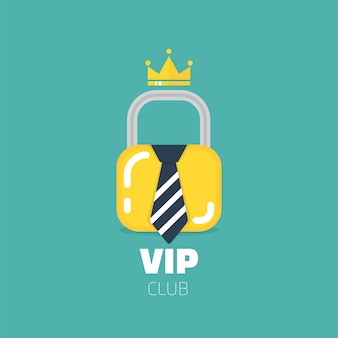 Logotipo del club vip en estilo plano. solo miembros del club vip