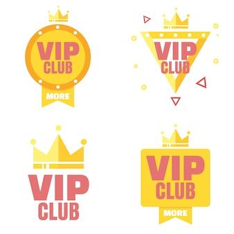 Logotipo del club vip en estilo plano