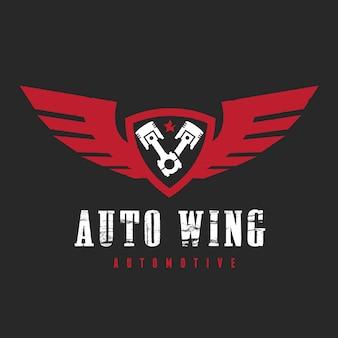 Logotipo del coche y del automóvil con la plantilla del logotipo del símbolo del águila y del ala.