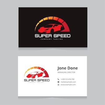 Logotipo del coche y del automóvil y plantilla de la tarjeta de visita.